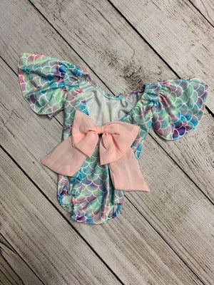 Ruffle Sleeve Mermaid Swimsuit with Bow