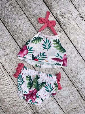 Floral Halter Swimsuit with Ties