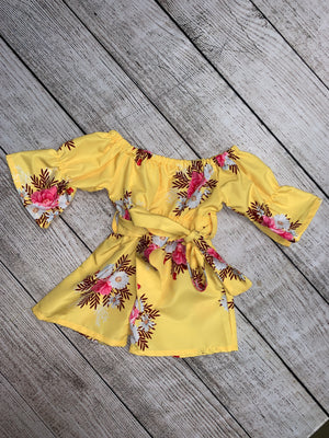 On/ Off Shoulder Floral Romper with Tie in Yellow