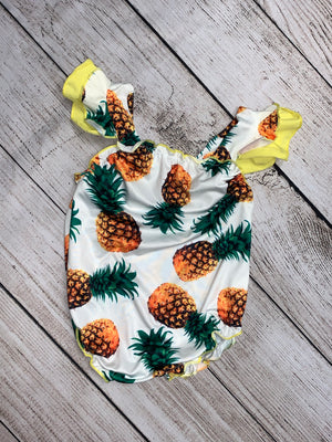 Pineapple Swimsuit with Ruffled Sleeves