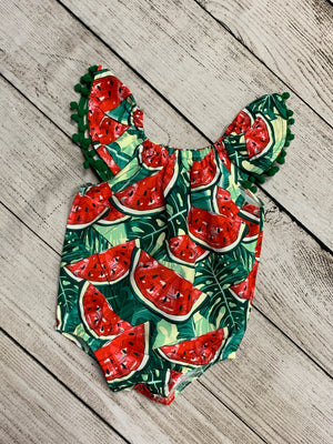 Watermelon Romper with Pom Pom Detail