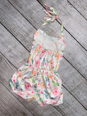 Floral Halter Romper with Lace Trim in Pink