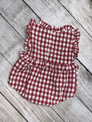 Plaid Ruffled Romper