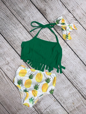 Pineapple Tassel Swimsuit with Headband