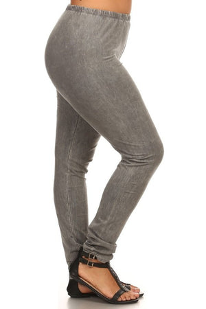 Mineral Wash Leggings in Taupe Grey - Curvy