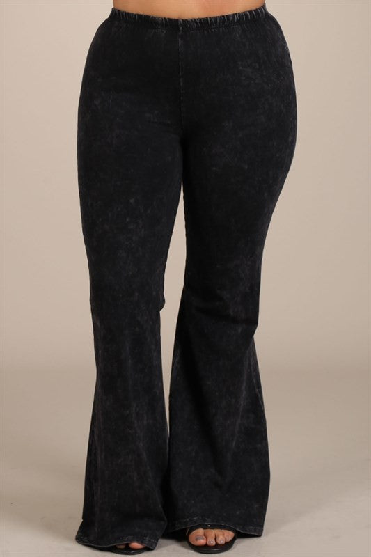 a3959833b3e24 Mineral Wash Bell Bottom Pants in Black - Curvy