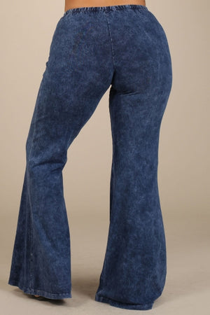 Washed Bell Bottom Flare Pants in Blue