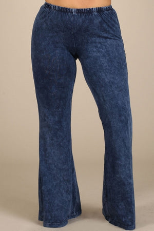 Mineral Wash Bell Bottom Pants in Blue - Curvy