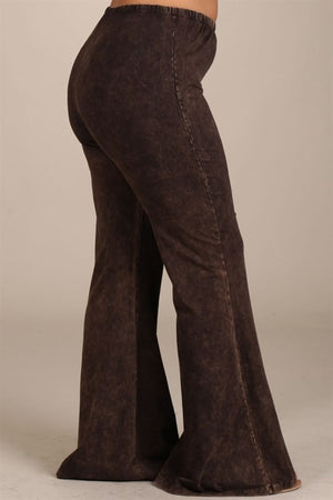 Mineral Wash Bell Bottom Pants in Brown - Curvy