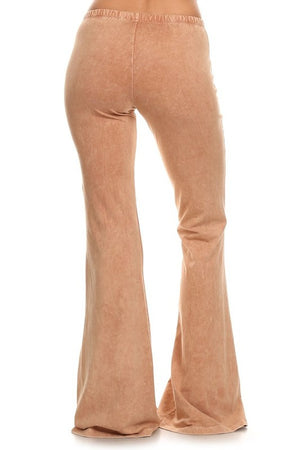 Mineral Wash Bell Bottom Pants in Camel