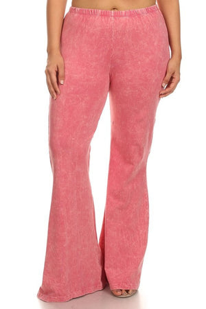Mineral Wash Bell Bottom Pants in Pink - Curvy