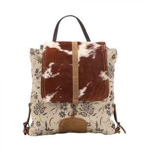 Floral Printed Canvas & Hairon Backpack