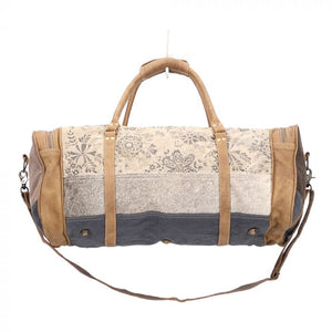 Printed Canvas & Hairon Duffle Bag
