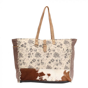 Floral Canvas & Hairon Weekender Bag