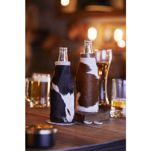 Leather & Hairon Beer Pint Holder in Black