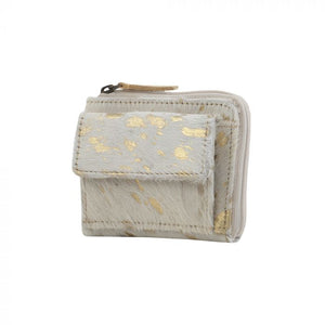 Hairon & Leather Wallet in White and Gold