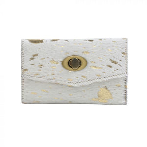 Twist Trifold Hairon Wallet in White & Gold
