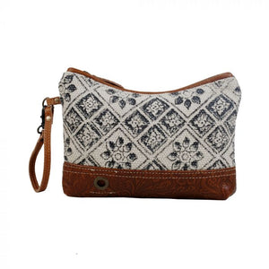 Printed Rug & Canvas Zipper Wristlet