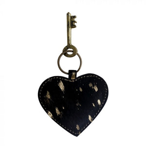 Hairon Heart Key Fob in Black & Gold