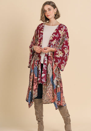 Multi Print Open Front Kimono with Side Slits