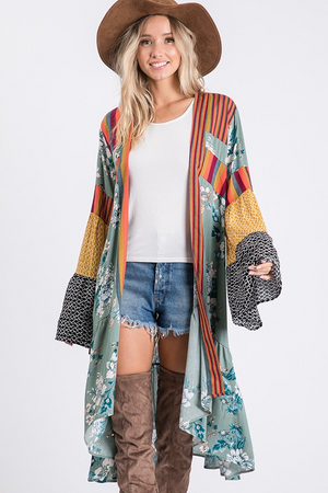 Floral Contrast Print Cardigan with Bell Sleeves