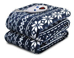 Navy Fair Isle Micro Plush Heated Throw