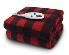 Red & Black Check Micro Plush Heated Throw