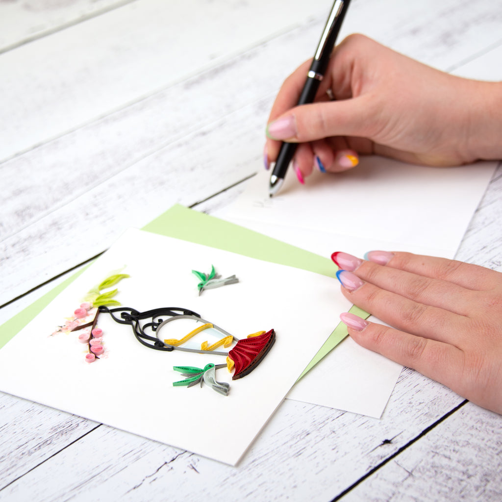 Quilled Hummingbird Feeder Greeting Card