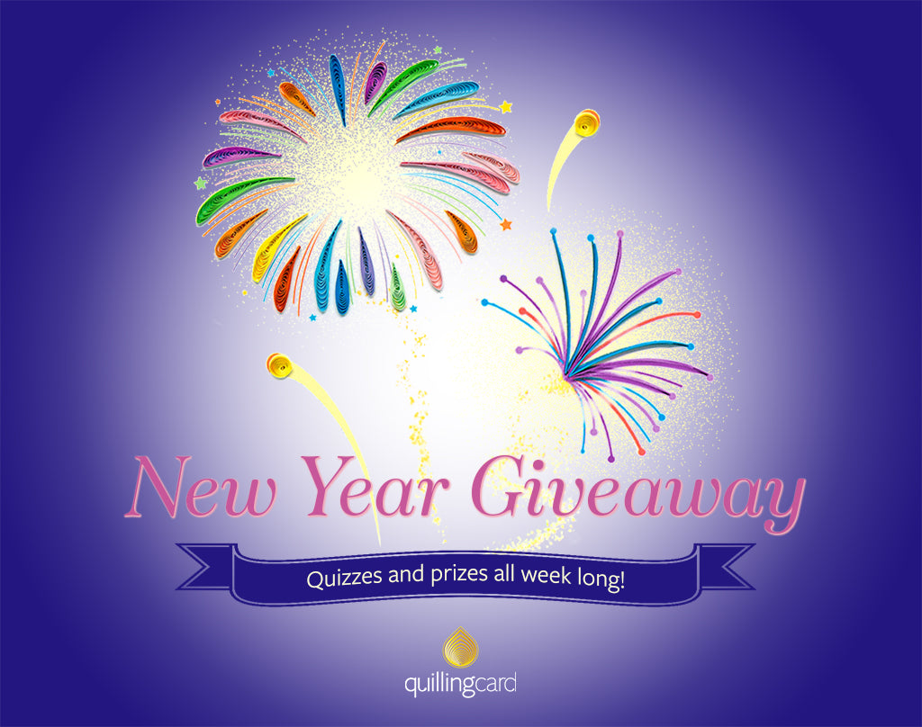 New Year Giveaway Header with Quilled Fireworks