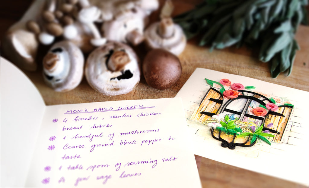 A Quilled Herb Garden Greeting Card with a recipe.