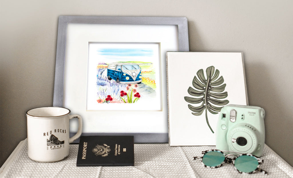 A  Quilled Road Trip Greeting Card with a coffee cup and a camera