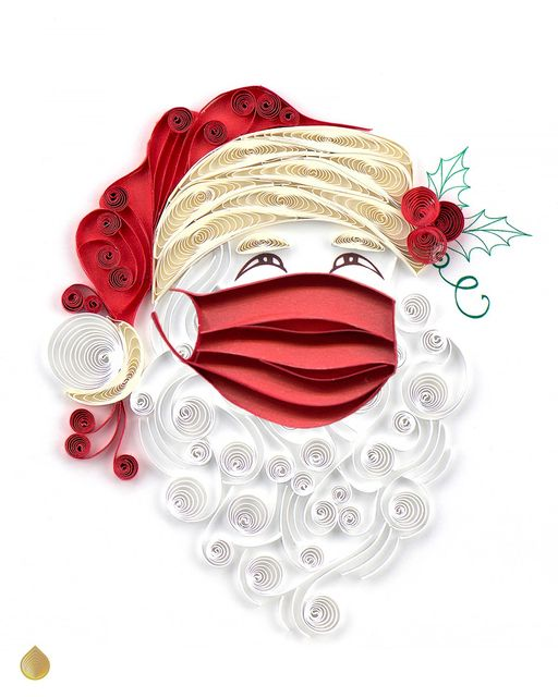 Image of a quilled Santa Claus with a red mask.