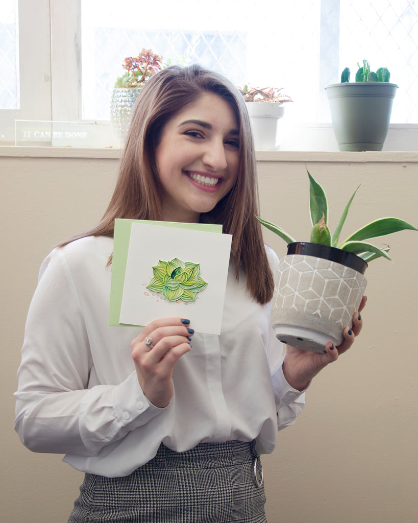 Woman holding a Quilled Succulent Plant Greeting Card