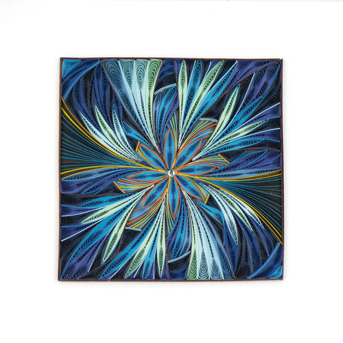 Quilled Blue Floral Detail Art