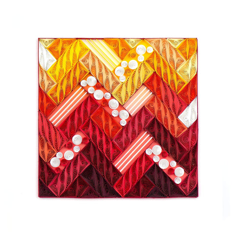 Quilled Red Chevron Art