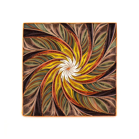 Quilled Tan Floral Detail Art