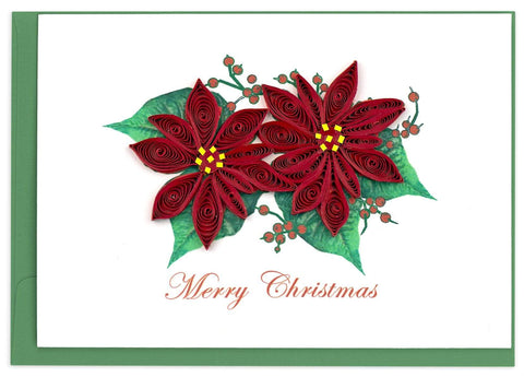 Quilled Red Poinsettia Holiday Card Box Set