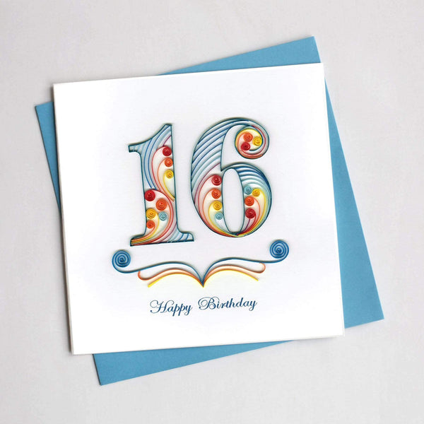 A quilled number sixteen in light blue and orange, reading Happy Birthday below.