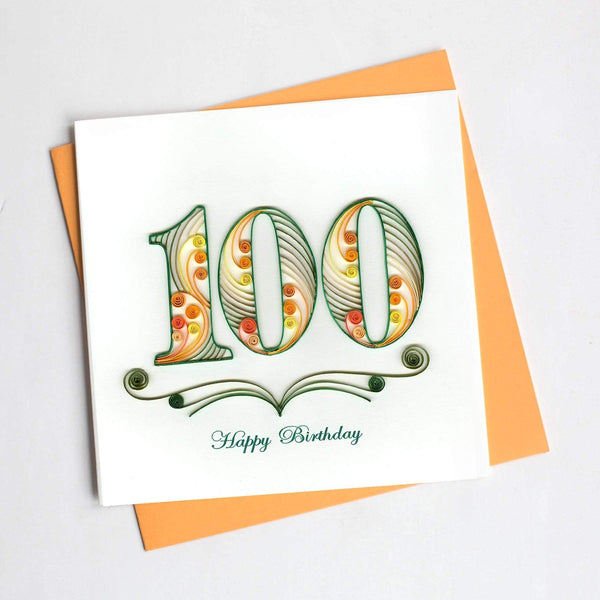 Colors of orange and green stand out to create the number one hundred in a design that also reads happy birthday.