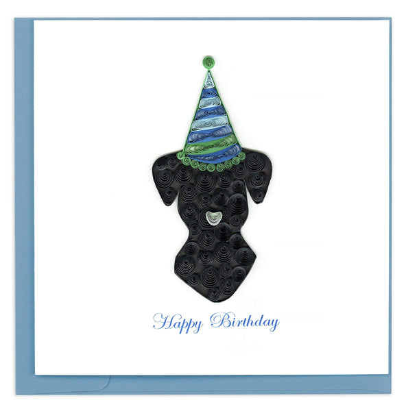 A black dog with a party hat. This card also reads happy birthday.