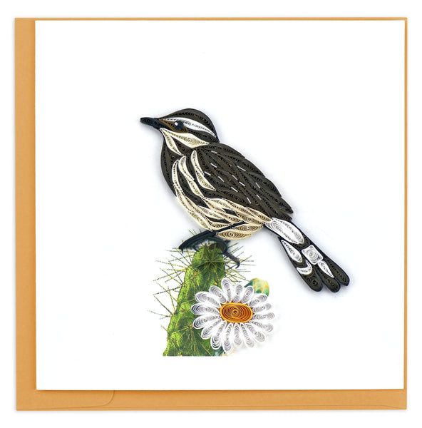 Greeting card featuring a quilled design of a cactus wren bird