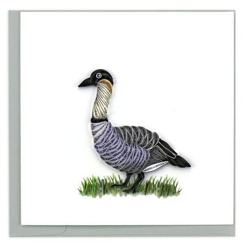 Greeting card featuring a quilled design of a nene