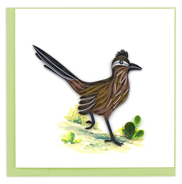 Greeting card featuring a quilled design of a roadrunner