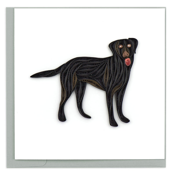Quilled Black Lab Card