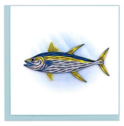 A tuna fish with a gray underbelly, blue top and yellow fins.