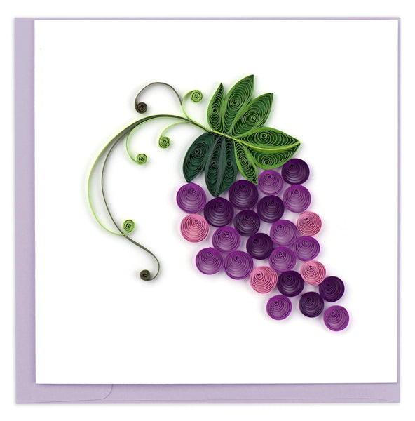 A bunch of purple grapes hanging from a green vine.