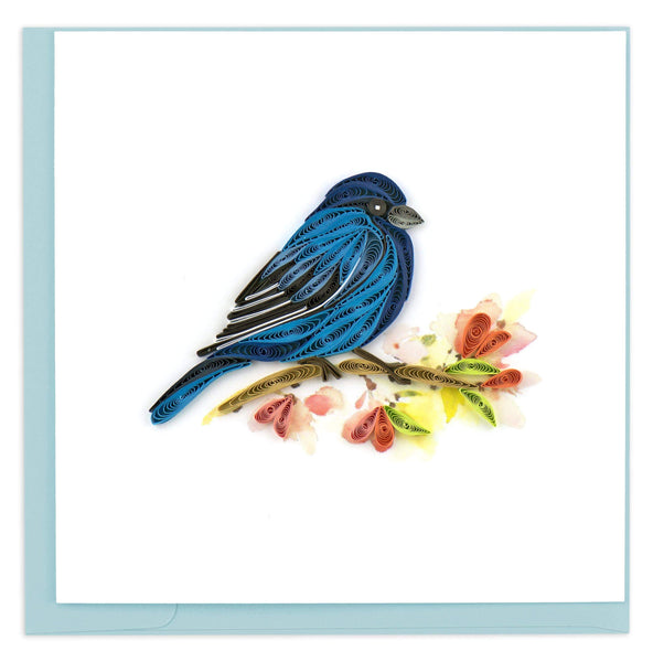 Blank greeting card of a quilled indigo bunting in profile on a flowery branch.