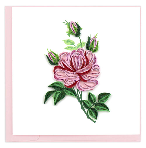 Blank greeting card featuring a quilled design of pink roses