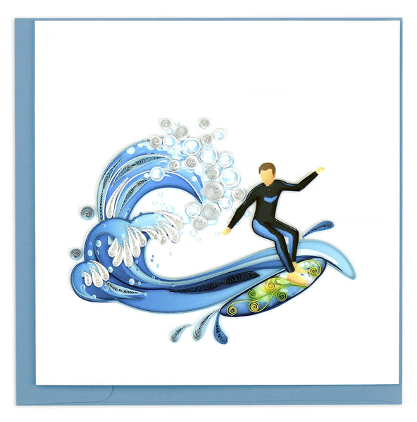 Blank greeting card featuring a quilled design of a surfer riding a wave