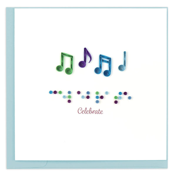 Colorful musical notes above the message celebrate in both Braille and print.